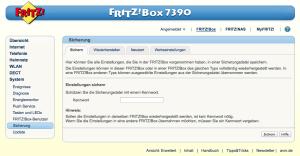 FritzBox: Sicherung der Konfiguration