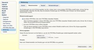 FritzBox: WIederherstellen der Konfiguration