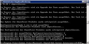 PSConfig wurde erfolgreich durchgeführt. Die Datenbank läuft nun nicht mehr im Kompatibilitätsmodus.