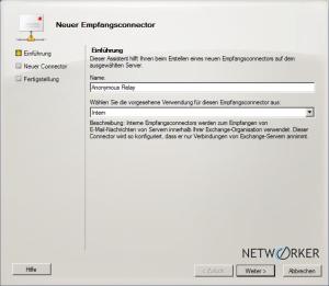 Dialog: Neuer Empfangsconnector